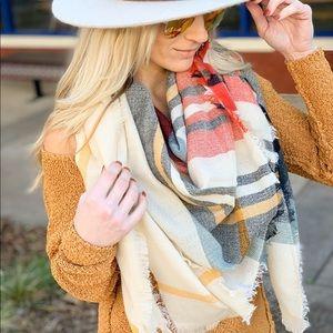 Cream plaid blanket scarf